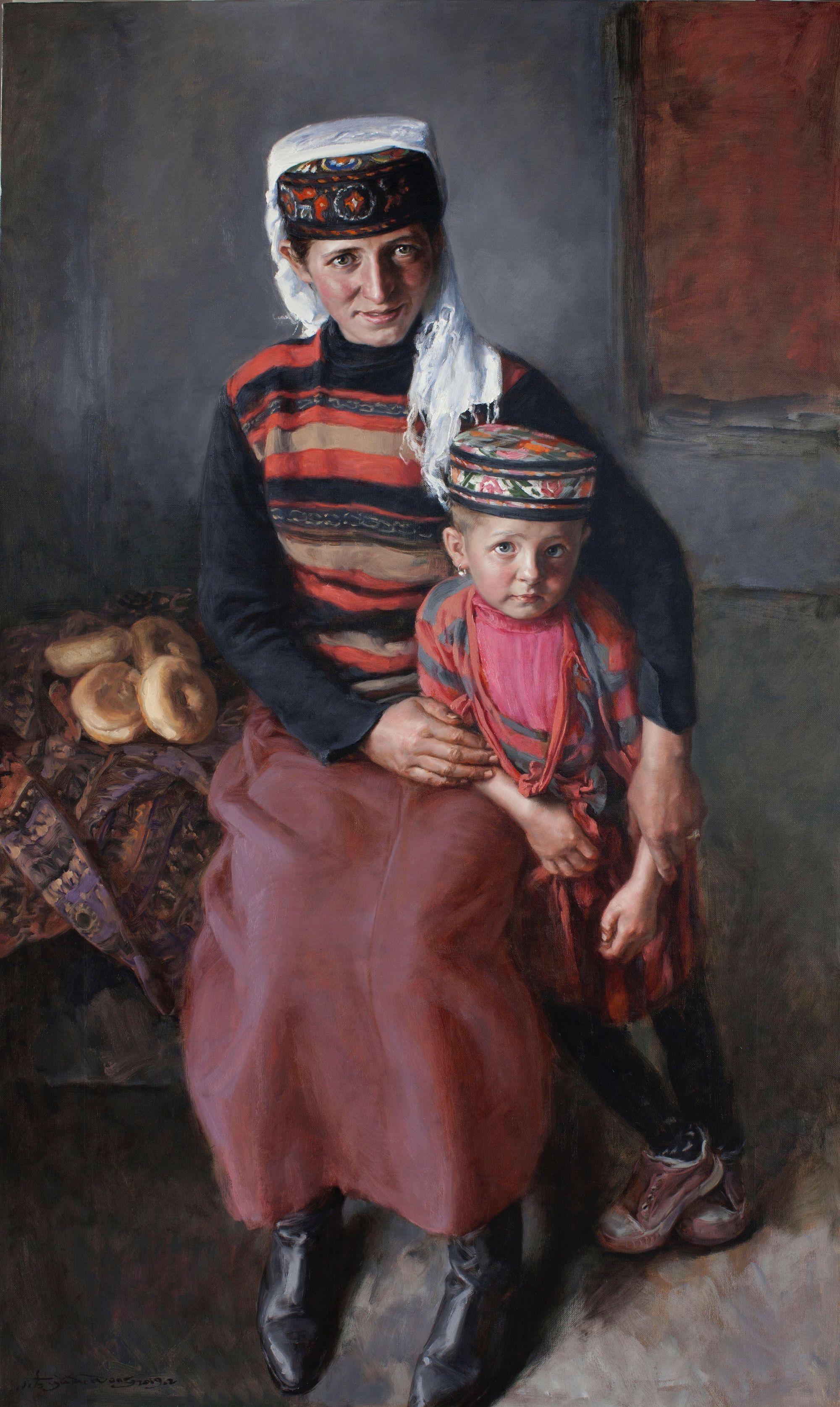 阿依沙汗和女儿150X90CM2019